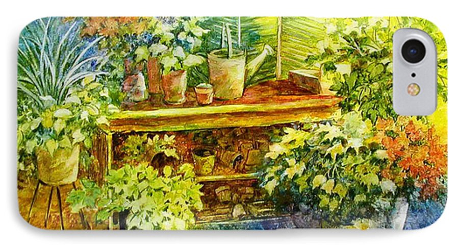 Greenhouse;plants;flowers;gardener;workbench;sprinkling Can;contemporary IPhone 7 Case featuring the painting Gardener's Joy by Lois Mountz