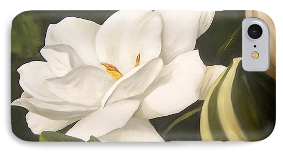 Gardenia Flower IPhone 7 Case featuring the painting Gardenia by Natalia Tejera