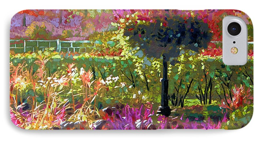 Landscape IPhone 7 Case featuring the painting Gas Light In The Garden by John Lautermilch