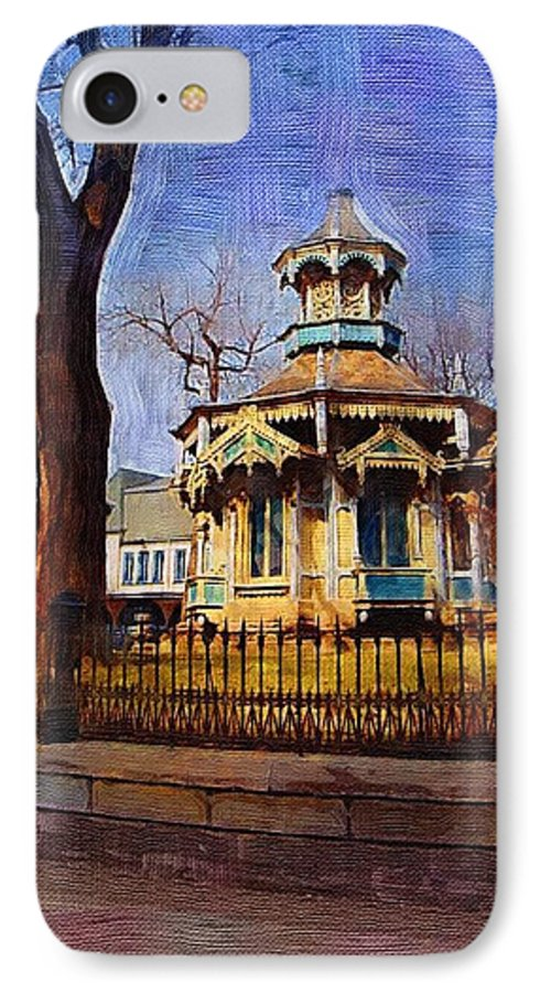 Architecture IPhone 7 Case featuring the digital art Gazebo And Tree by Anita Burgermeister