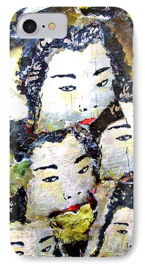Geisha Girls IPhone 7 Case featuring the mixed media Geisha Girls by Shelley Jones