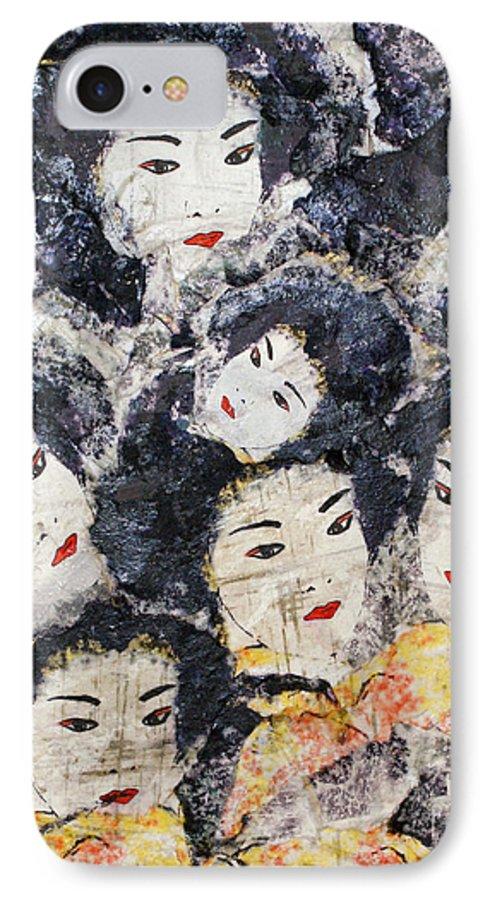 Geisha IPhone 7 Case featuring the mixed media Geisha by Shelley Jones