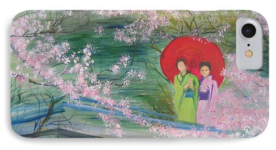 Landscape IPhone 7 Case featuring the painting Geishas And Cherry Blossom by Lizzy Forrester