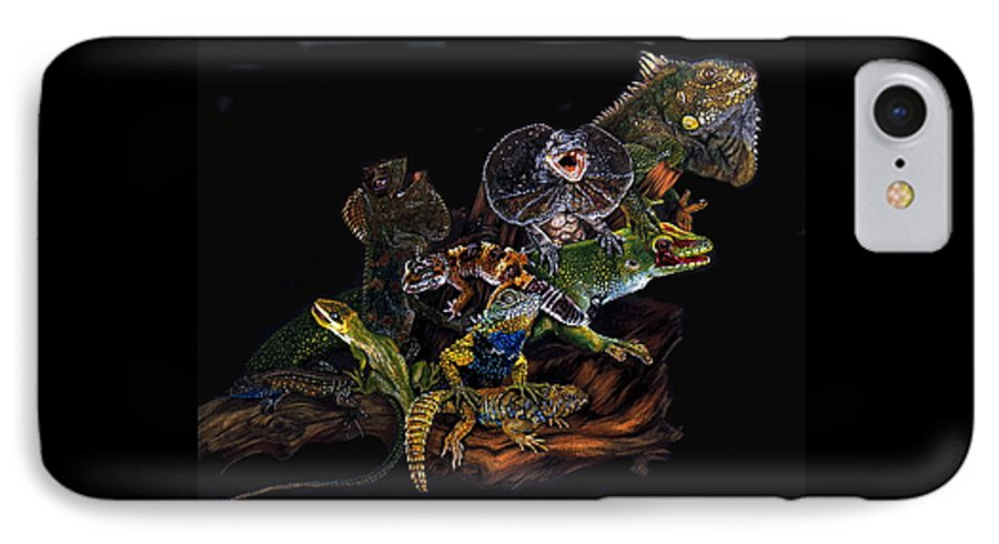 Lizards IPhone 7 Case featuring the drawing Gems And Jewels by Barbara Keith