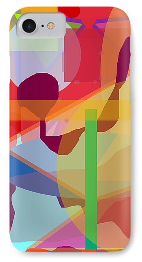 Abstract IPhone 7 Case featuring the painting Geo Frenzy by Pharris Art