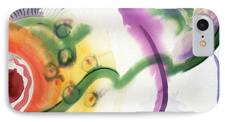 Abstract IPhone 7 Case featuring the painting Geomantic Blossom Ripening by Eileen Hale