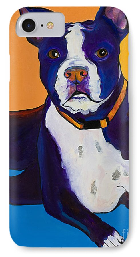 Boston Terrier IPhone 7 Case featuring the painting Georgie by Pat Saunders-White