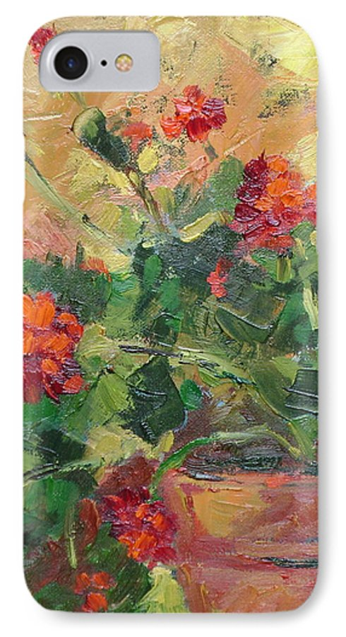 Geraniums IPhone 7 Case featuring the painting Geraniums II by Ginger Concepcion