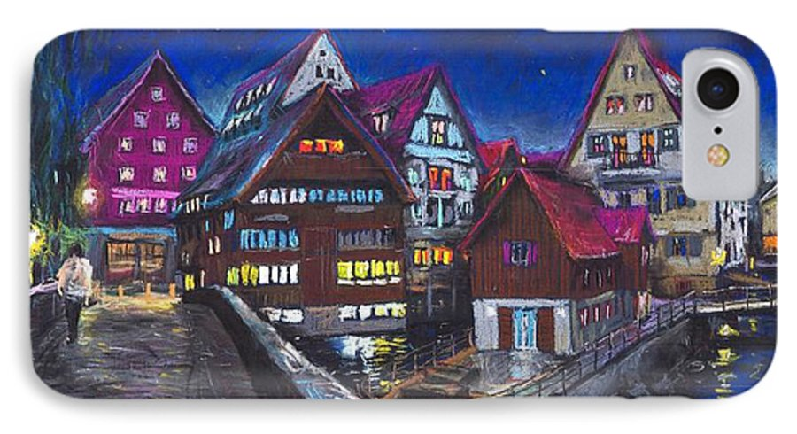 Pastel IPhone 7 Case featuring the painting Germany Ulm Fischer Viertel by Yuriy Shevchuk