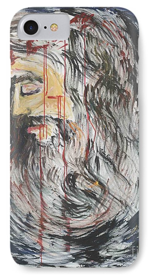 Jesus IPhone 7 Case featuring the painting Gethsemane To Golgotha IIi by Nadine Rippelmeyer