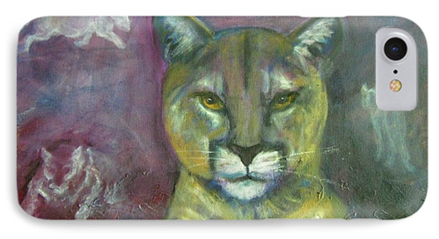 Wildlife IPhone 7 Case featuring the painting Ghost Cat by Darla Joy Johnson