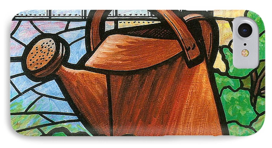 Gardening IPhone 7 Case featuring the painting Giant Watering Can Staunton Landmark by Jim Harris