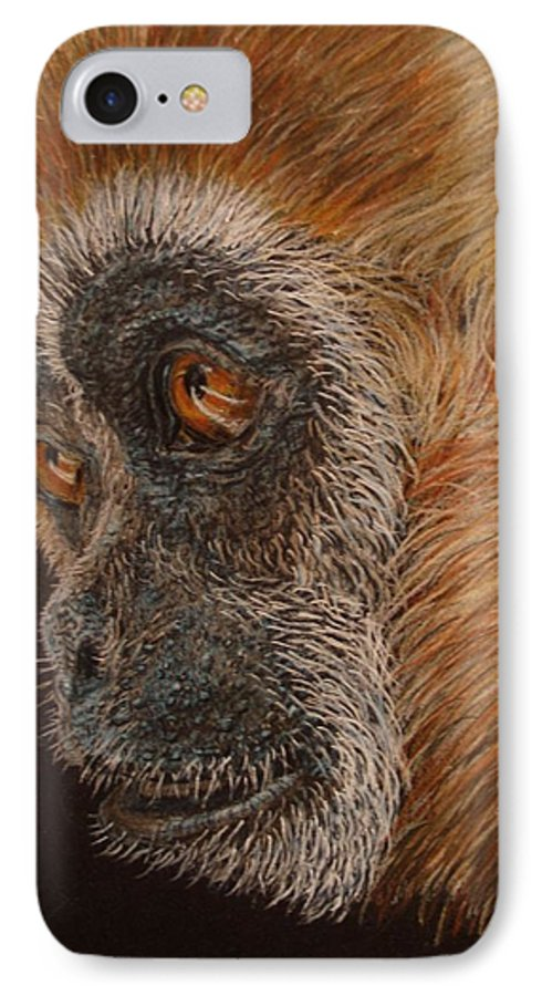 Animals IPhone 7 Case featuring the drawing Gibbon by Karen Ilari