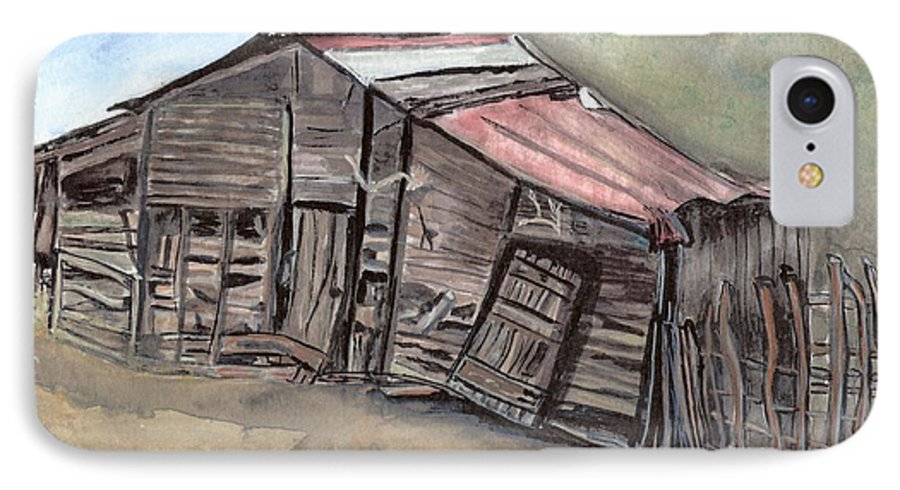 Barn IPhone 7 Case featuring the painting Gila New Mexico Cattle Barn by Margaret Fortunato