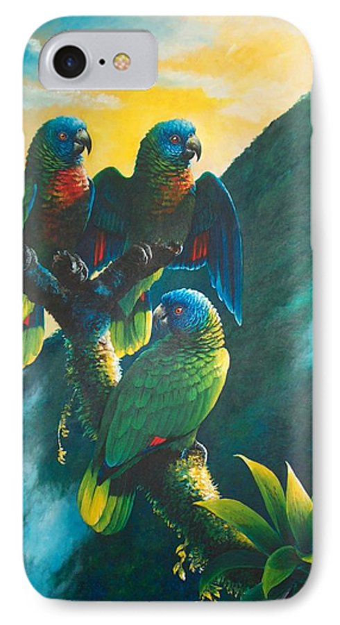 Chris Cox IPhone 7 Case featuring the painting Gimie Dawn 1 - St. Lucia Parrots by Christopher Cox
