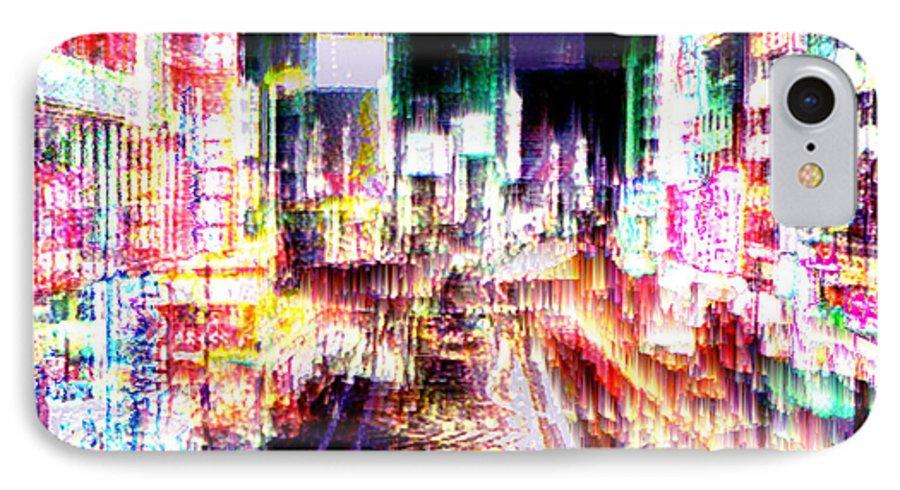 Tokyo IPhone 7 Case featuring the digital art Ginsa Glitz by Seth Weaver