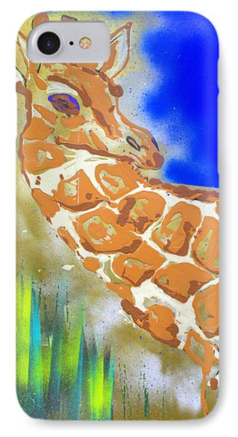 Giraffe IPhone 7 Case featuring the painting Giraffe by J R Seymour