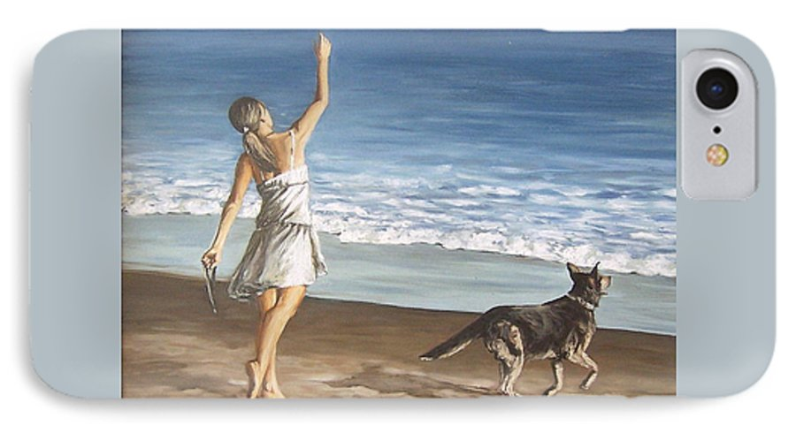 Portrait Girl Beach Dog Seascape Sea Children Figure Figurative IPhone 7 Case featuring the painting Girl And Dog by Natalia Tejera