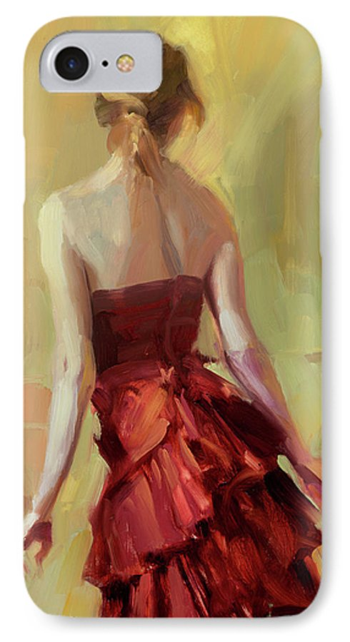 Girl IPhone 7 Case featuring the painting Girl In A Copper Dress I by Steve Henderson