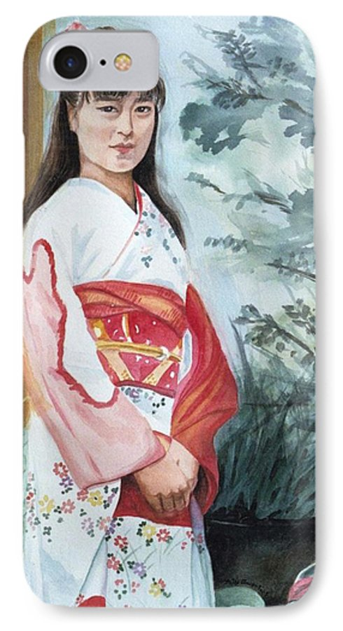 Japanese Girl In Kimono IPhone 7 Case featuring the painting Girl In Kimono by Judy Swerlick