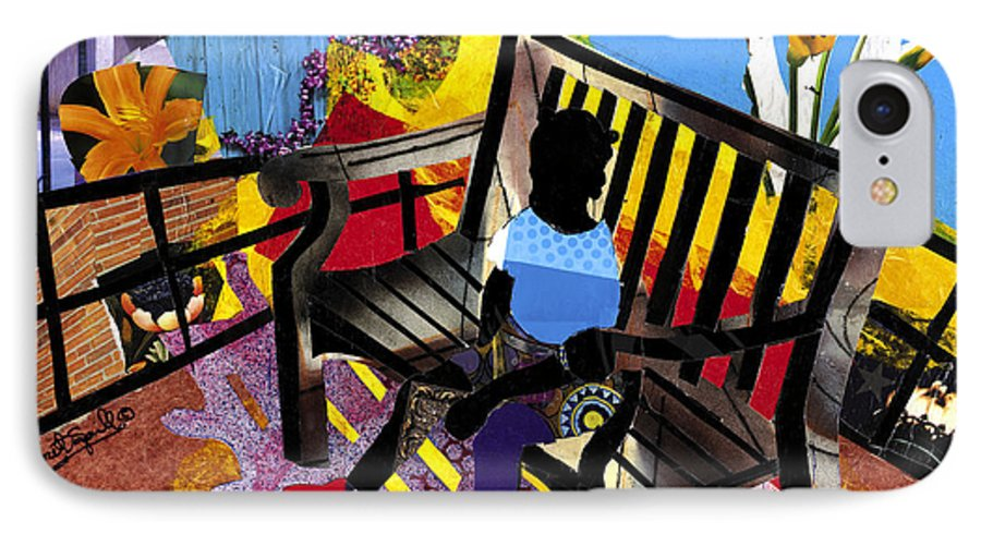 Everett Spruill IPhone 7 Case featuring the painting Girl In Red Shoes by Everett Spruill