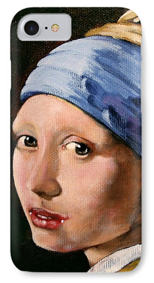 Portrait IPhone 7 Case featuring the painting Girl With A Pearl Earring A Reproduction Of Vermeer by Joan Garcia