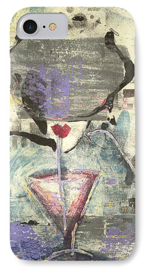 Cafe IPhone 7 Case featuring the painting Girl With Drink by Maryn Crawford