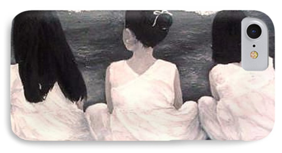Girls IPhone 7 Case featuring the painting Girls In White At The Beach by Patricia Awapara