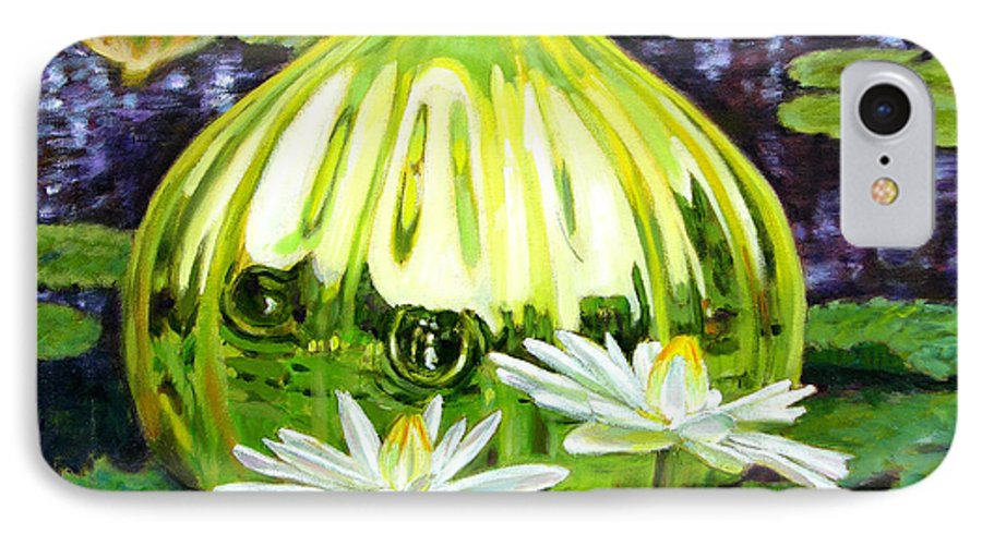 Water Lilies IPhone 7 Case featuring the painting Glass Among The Lilies by John Lautermilch