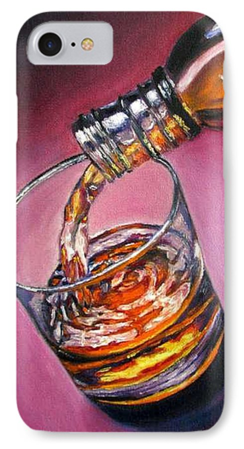 Glass Of Wine IPhone 7 Case featuring the painting Glass Of Wine Original Oil Painting by Natalja Picugina
