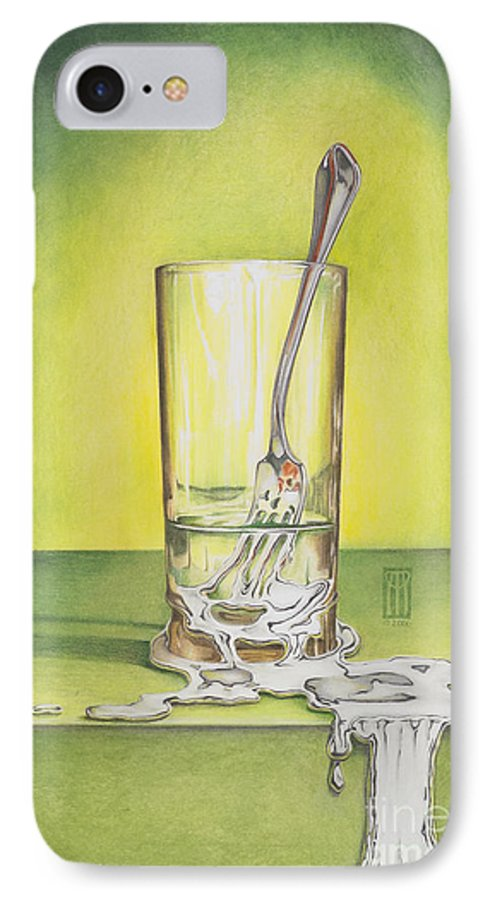 Bizarre IPhone 7 Case featuring the painting Glass With Melting Fork by Melissa A Benson