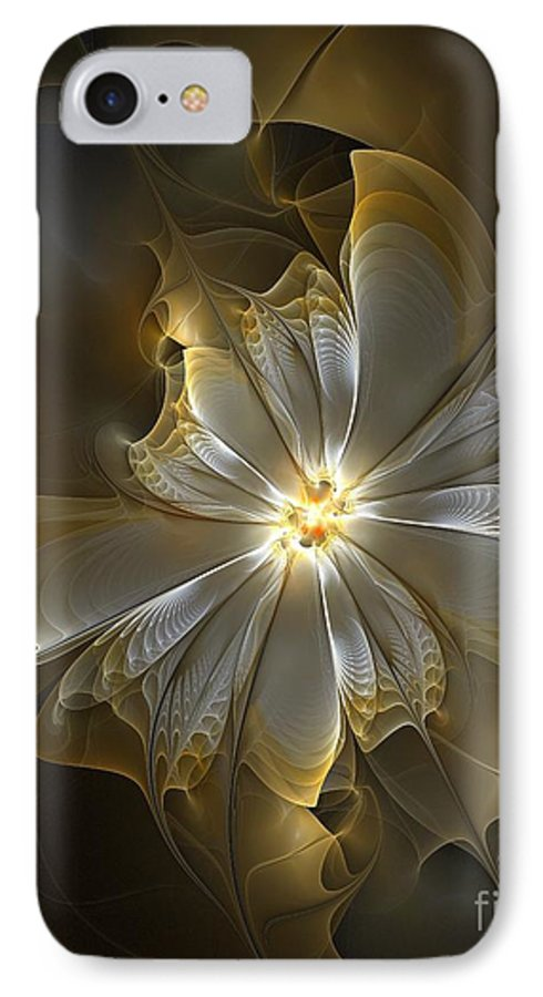 Digital Art IPhone 7 Case featuring the digital art Glowing In Silver And Gold by Amanda Moore