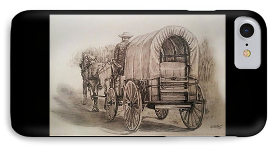 Horse IPhone 7 Case featuring the drawing Going Shopping by Sheryl Gallant