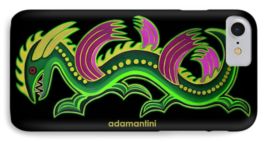 Gold And Green Big Dragon IPhone 7 Case featuring the painting Gold and green big dragon by Adamantini Feng shui