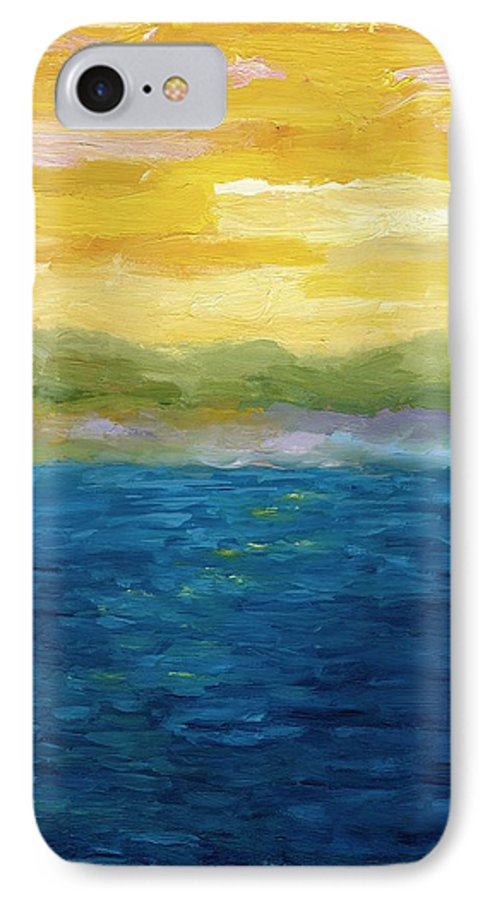 Lake IPhone 7 Case featuring the painting Gold And Pink Sunset by Michelle Calkins