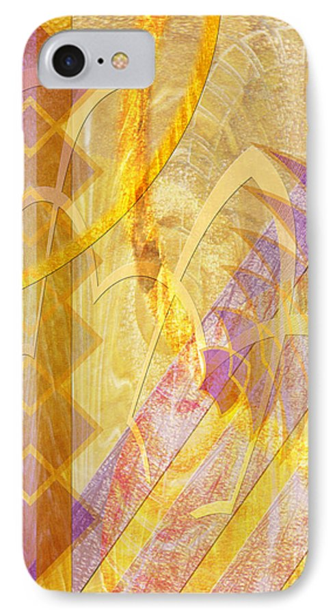 Gold Fusion IPhone 7 Case featuring the digital art Gold Fusion by John Beck