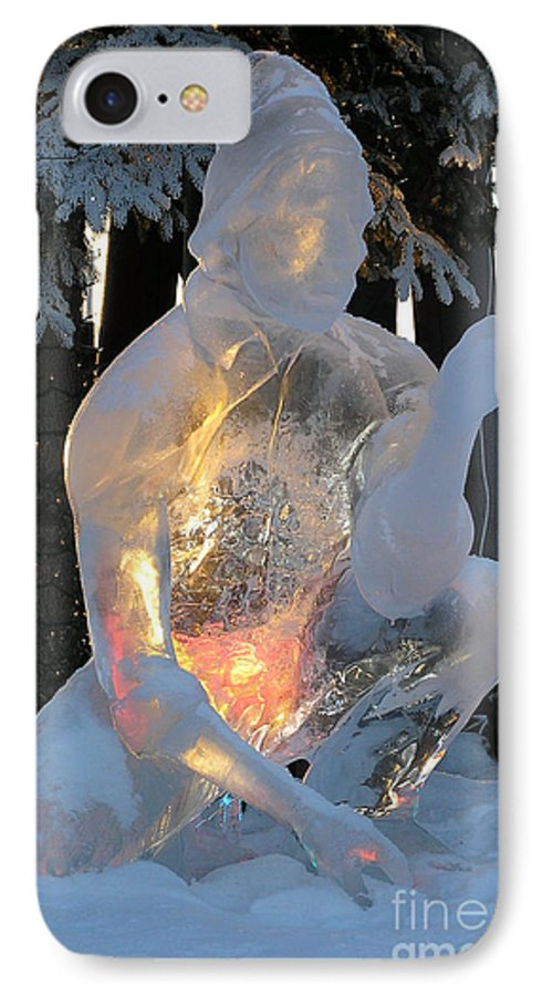 Ice Sculpture IPhone 7 Case featuring the photograph Gold Miner by Louise Magno