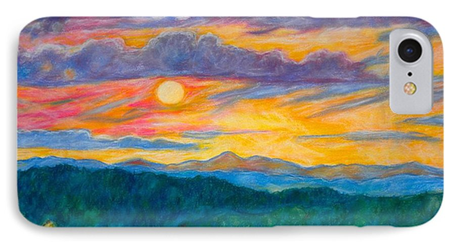 Landscape IPhone 7 Case featuring the painting Golden Blue Ridge Sunset by Kendall Kessler