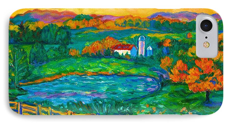 Landscape IPhone 7 Case featuring the painting Golden Farm Scene Sketch by Kendall Kessler