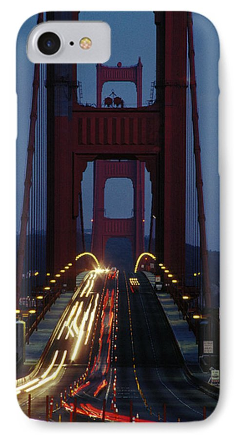 Evening IPhone 7 Case featuring the photograph Golden Gate Bridge by Carl Purcell