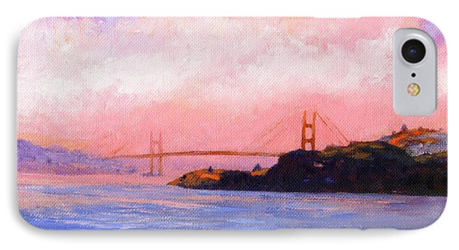 Landscape IPhone 7 Case featuring the painting Golden Gate Bridge by Frank Wilson
