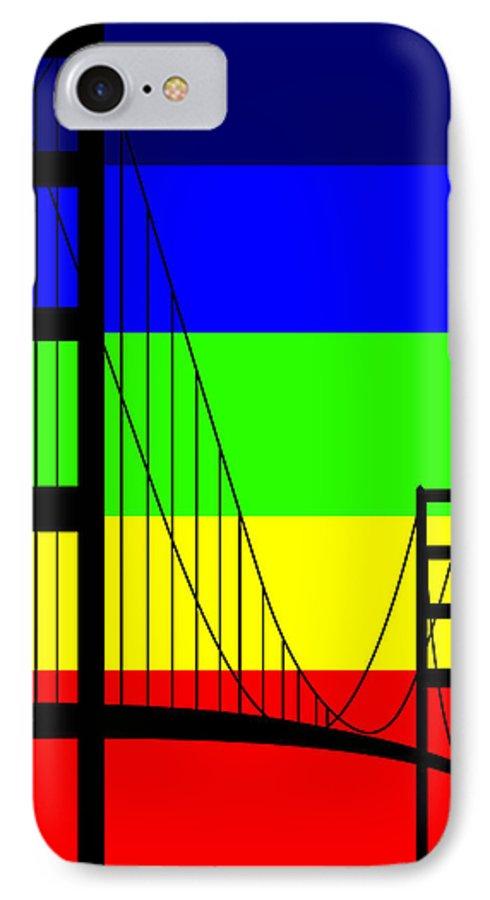 Golden Gate IPhone 7 Case featuring the digital art Golden Gay by Asbjorn Lonvig
