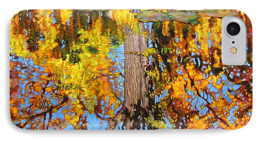 Landscape IPhone 7 Case featuring the painting Golden Reflections On Lily Pond by John Lautermilch