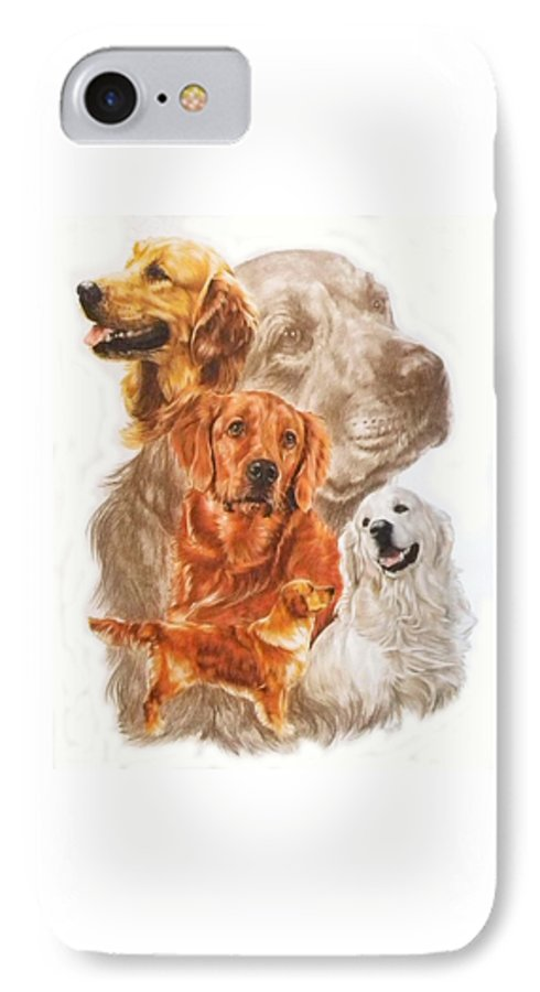 Retriever IPhone 7 Case featuring the mixed media Golden Retriever W/ghost by Barbara Keith