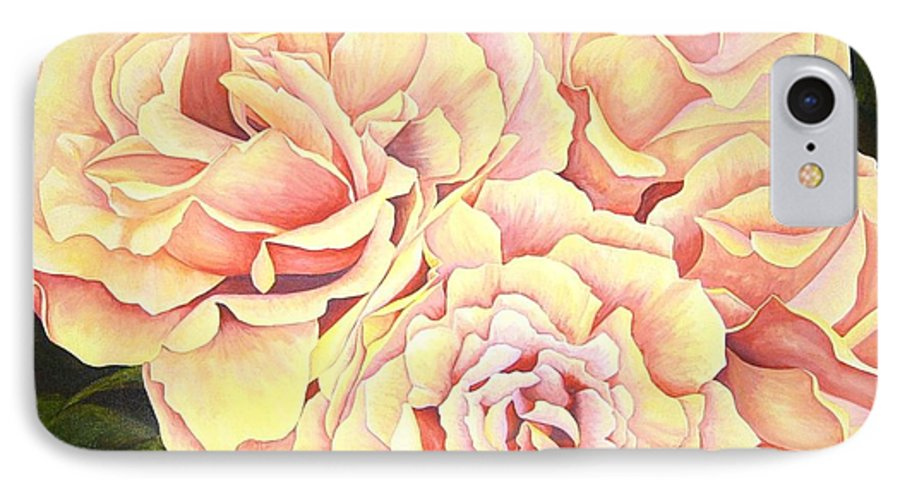 Roses IPhone 7 Case featuring the painting Golden Roses by Rowena Finn