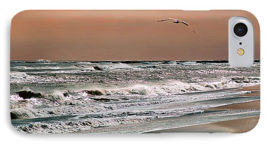 Seascape IPhone 7 Case featuring the photograph Golden Shore by Steve Karol