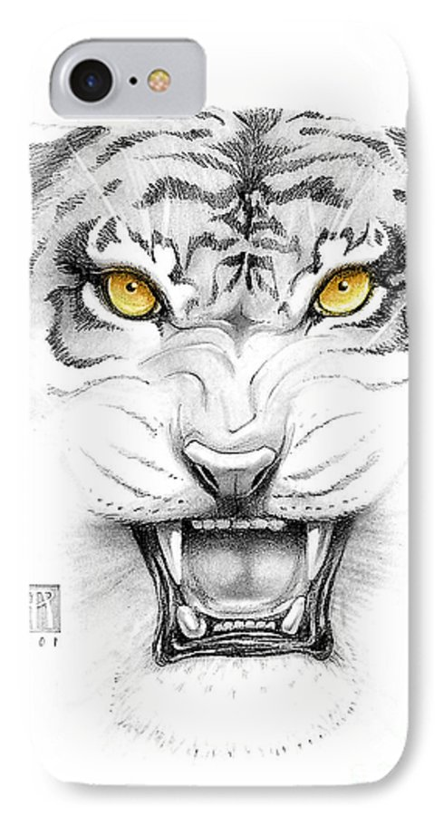 Amber IPhone 7 Case featuring the digital art Golden Tiger Eyes by Melissa A Benson
