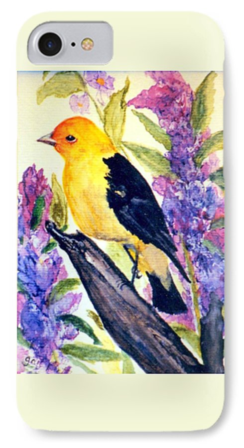 Birds IPhone 7 Case featuring the painting Goldfinch by Gail Kirtz