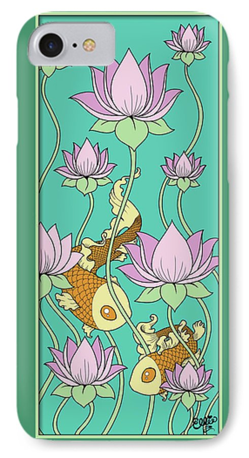 Goldfish IPhone 7 Case featuring the digital art Goldfish And Lotus by Eleanor Hofer