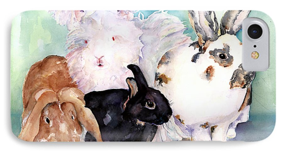Animal Artwork IPhone 7 Case featuring the painting Good Hare Day by Pat Saunders-White